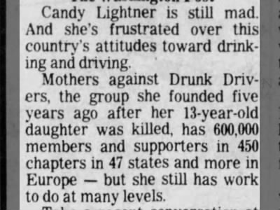 Candy Lightner, MADD (Mothers Against Drunk Drivers)