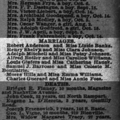 marriage notice for Samuel J barrosse and celeste m bouterie, 1883