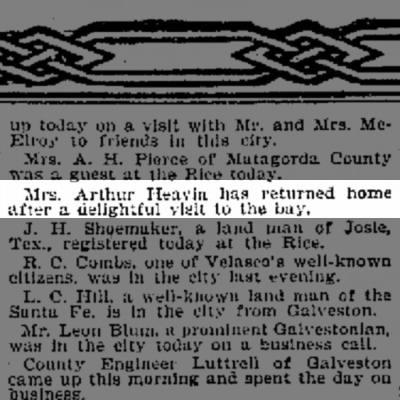 Carrie Cumming (Mrs. Arthur Heavin)