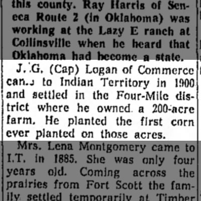 50 Year Club - Cap Logan came to Indian Territory in 1900 - May 57