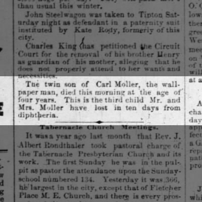Indianapolis News 16 Nov 1885 pg 3 twin son of Anna and Carl Moller