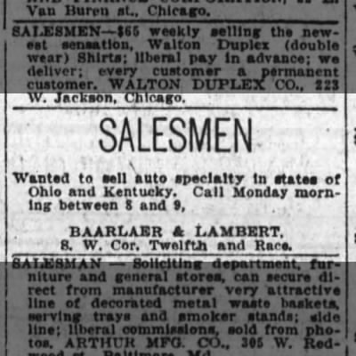 1923 oct 7 baarlaer and lambert sales