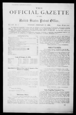 Official Gazette of the United States Patent Office from Washington, District of Columbia on February 12, 1924 · Page 1