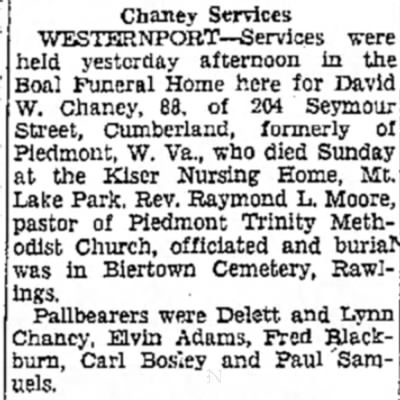 C Evening Times 20 May 1948; Funeral David W Chaney
