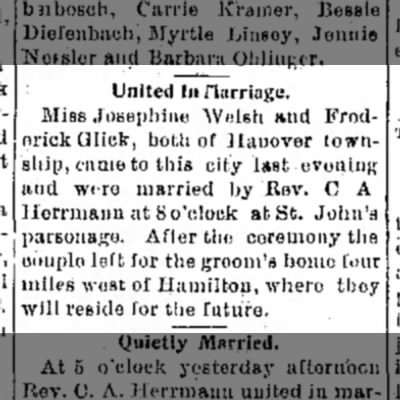 Josephine Welsh and Fred Glick wed (1899)