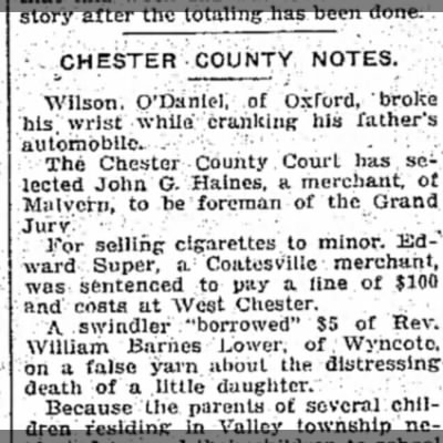 from Delaware County Daily Times (Chester, Pennsylvania) 23 Jan 1913, p 3