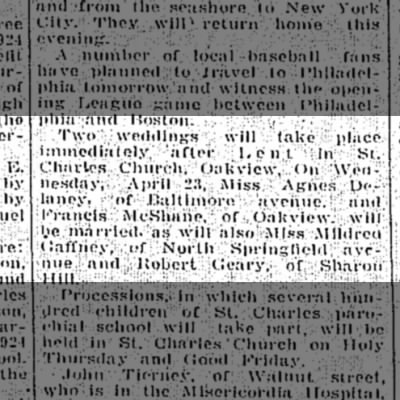 Francis McShane & Agnes Delaney marriage 14 April 1924