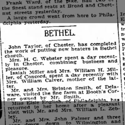 Mr and Mrs Brinton Smith visited the farm at Booth's Corner - 10 Oct 1908