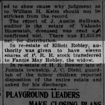 Elliott Robley shares to Fannie May Robley, the widow-Altoona Tribune 18 Aug 1925 p3