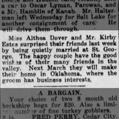 Althea Dover married kirby Estes