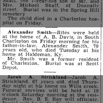 Alexander Smith's obituary in The Charleston Daily Mail 18 January 1935