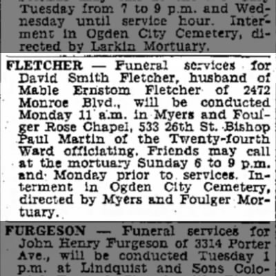 Funeral announcement for David Smith Fletcher