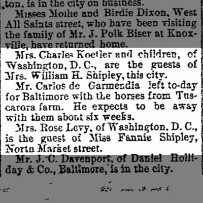 Kettler-Shipley Families Visit-The News Tuesday 1 Sep 1891