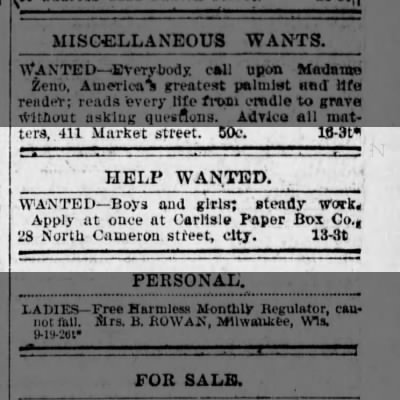 Carlisle paper box help wanted 1899
