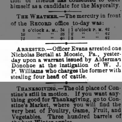 Nicholas Bertall arrested in 1876 for stealing four head of cattle