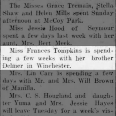 Social Announcement - Frances Tompkins.  The Daily Republican (Rushville, IN) 23 Jun 1925, Page 2