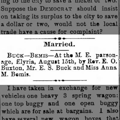 Bemis/Buck marriage, 1889