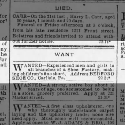 Bedford Shoe Help Wanted 1891