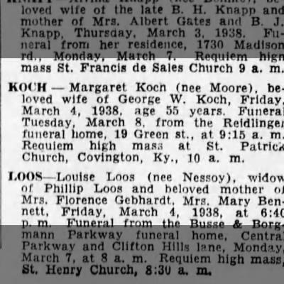 1938-03-06 Koch, Geo differnt than ours also married to Margaret  FYI